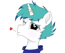 Size: 662x546   Tagged: safe, artist:inky scroll, artist:straighttothepointstudio, edit, oc, oc:snowy blue, pony, unicorn, blowing a kiss, blushing, clothes, colored, heart, hoodie, male, one eye closed, solo, trap, wink