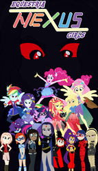 Size: 1600x2797 | Tagged: applejack, artist:lhenao, ben 10 omniverse, crossover, equestria girls, fanfic, fanfic:equestria nexus girls, fluttershy, genie, gwen tennyson, human, humane five, humane six, kat, korra, ladybug, miraculous ladybug, multiverse, naruto shippuden, pinkie pie, ponied up, poster, rainbow dash, rarity, raven, ruby rose, rwby, safe, sakura haruno, sci-twi, shantae, shantae: half-genie hero, sunset shimmer, teen titans, the legend of korra, twilight sparkle