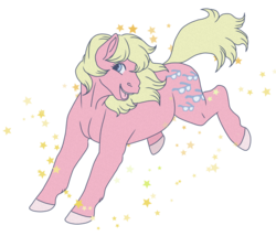 Size: 780x700 | Tagged: safe, artist:guidomista, artist:miiistaaa, artist:nijimillions, shady, earth pony, pony, my little pony tales, blonde, blonde hair, blonde mane, dull, female, fullbody, g1, g1.5, grainy, hooves, jumping, looking back, mare, muted color, pink, realistic horse legs, simple background, smiling, solo, stars, transparent background