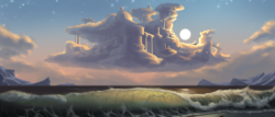 Size: 2520x1080 | Tagged: safe, artist:amarthgul, beach, city, cloud, cloudsdale, moon, no pony, ocean, scenery, scenery porn, water, wave
