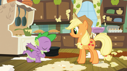 Size: 1280x720 | Tagged: safe, screencap, applejack, spike, dragon, earth pony, pony, spike at your service, apple, apple pie, bowing, drawer, duo, egg, egg carton, eyes closed, female, food, frying pan, kitchen, male, mare, mess, pie