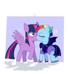 Size: 1402x1500 | Tagged: safe, artist:stupid works-stuwor, artist:stuwor-art, rainbow dash, twilight sparkle, alicorn, pegasus, pony, the cutie re-mark, female, kissing, lesbian, shipping, twidash, twilight sparkle (alicorn)