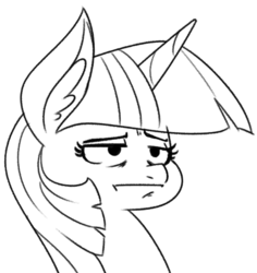 Size: 570x603 | Tagged: artist:reiduran, bust, female, mare, /mlp/, monochrome, pony, safe, twilight sparkle, unamused, unicorn