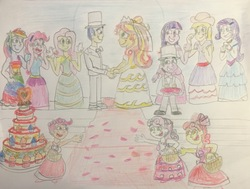 Size: 2556x1936 | Tagged: safe, artist:13mcjunkinm, apple bloom, applejack, flash sentry, fluttershy, pinkie pie, rainbow dash, rarity, scootaloo, spike, sunset shimmer, sweetie belle, twilight sparkle, equestria girls, bride, bridesmaid, bridesmaid dress, bridesmaids, cake, clothes, cutie mark crusaders, dress, equestria girls-ified, female, flashimmer, flower girl, flower girl dress, food, hat, human spike, humane five, humane seven, humane six, male, marriage, ring, shipping, species swap, straight, suit, top hat, traditional art, tuxedo, wedding, wedding cake, wedding dress, wedding ring, wedding veil
