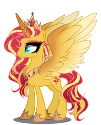 Size: 1200x1486 | Tagged: safe, artist:elementbases, artist:gihhbloonde, sunset shimmer, alicorn, pony, alicornified, base used, crown, female, jewelry, mare, race swap, regalia, shimmercorn, simple background, smiling, solo, transparent background