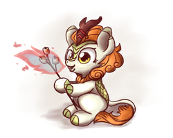 Size: 1000x800 | Tagged: artist:sugar morning, autumn blaze, awwtumn blaze, cute, doodle, fire, fire breath, food, kirin, marshmallow, mundane utility, pony, safe, simple background, sitting, sketch, solo, stick, white background