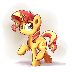 Size: 1000x1000 | Tagged: safe, artist:sugar morning, sunset shimmer, pony, unicorn, cute, looking up, shimmerbetes, simple background, solo, walking, white background