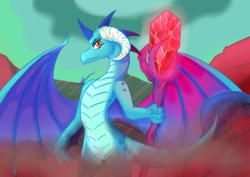 Size: 3508x2480 | Tagged: artist:mantarwolf, bloodstone scepter, dragon, dragoness, dragon lord ember, female, high res, princess ember, safe, scepter, signature, smiling, solo
