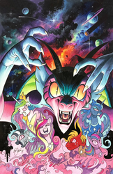 Size: 1236x1913 | Tagged: alicorn, artist:andypriceart, artist:katiecandraw, big macintosh, chimera, cloud, comic, cosmos (character), draconequus, earth pony, edit, editor:dsp2003, evil laugh, female, idw, mare, painting, pink, pony, possessed, princess cadance, princess celestia, princess luna, puppeteer, rainbow dash, safe, traditional art, twilight sparkle, zebra