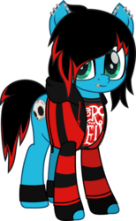 Size: 548x889 | Tagged: artist:lightningbolt, bridge piercing, clothes, derpibooru exclusive, dyed mane, dyed tail, ear piercing, earring, emo, eyeliner, fingerless gloves, frown, gloves, hoodie, jewelry, leg band, lip piercing, looking at you, makeup, male, movie accurate, oc, oc:emo lad, oc only, piercing, pony, safe, shirt, simple background, solo, stallion, svg, .svg available, transparent background, t-shirt, undershirt, vector