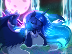 Size: 1580x1185 | Tagged: alicorn, anthro, artist:suirano, breasts, busty princess luna, eyes closed, female, hoof shoes, luminescent, princess luna, safe, smiling, solo, sweet dreams fuel, unguligrade anthro