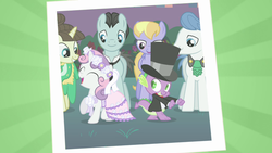Size: 640x360 | Tagged: a canterlot wedding, bruce mane, clothes, cloud kicker, cute, dancing, dragon, dress, female, filly, fine line, hat, male, mare, maxie, orion, pegasus, photo, pony, safe, screencap, shipping fuel, shooting star (character), spike, stallion, suit, sweetie belle, top hat, unicorn