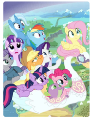 Size: 247x330 | Tagged: alicorn, applejack, fluttershy, mane seven, mane six, maud pie, picture for breezies, pinkie pie, rainbow dash, rarity, safe, spike, starlight glimmer, swan boat, trixie, twilight sparkle, twilight sparkle (alicorn)
