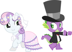 Size: 900x649 | Tagged: a canterlot wedding, artist needed, clothes, cute, dragon, dress, female, filly, flower, flower in hair, hat, looking at each other, male, pony, raised hoof, safe, shipping fuel, simple background, spike, suit, sweetie belle, top hat, transparent background, vector