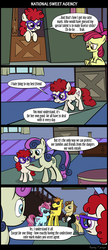 Size: 1288x2983 | Tagged: apple bloom, artist:sirvalter, bon bon, carrot cake, clothes, comic, con mane, cup cake, curtains, donut joe, earth pony, pony, safe, secret agent, secret agent sweetie drops, stairs, sunglasses, sweetie drops, tuxedo, twist, vase, window
