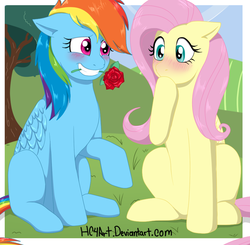 Size: 861x844 | Tagged: safe, artist:hc4art, fluttershy, rainbow dash, pegasus, pony, blushing, female, floppy ears, flower, flower in mouth, flutterdash, lesbian, mare, mouth hold, raised hoof, rose, rose in mouth, shipping, sitting, smiling