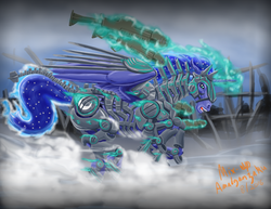 Size: 3300x2550 | Tagged: safe, artist:amalgamzaku, princess luna, alicorn, pony, armor, cutie mark, ethereal mane, fanfic art, female, glowing horn, gun, hoers, horn, magic, mare, open mouth, power armor, ruins, running, science fiction, solo, starry mane, telekinesis, warrior luna, weapon