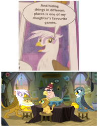 Size: 617x796 | Tagged: safe, gabby, gilda, grampa gruff, grizzle, griffon, the hearth's warming club, the voice of reason, griffon scone, lore, mom gilda, official, official comic, stool