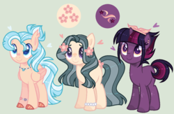 Size: 1036x676 | Tagged: artist:nocturnal-moonlight, base used, blushing, cloven hooves, earth pony, female, flower, flower in hair, hybrid, interspecies offspring, magical lesbian spawn, mare, oc, oc:aqua tide, oc:northern star, oc only, oc:willow blossom, offspring, parent:fluttershy, parent:marble pie, parent:pinkie pie, parent:princess skystar, parents:marbleshy, parents:skypie, parents:tempestlight, parent:tempest shadow, parent:twilight sparkle, pegasus, pony, safe, simple background, trio, unicorn