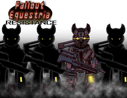 Size: 2786x2153 | Tagged: abstract background, armor, artist:amalgamzaku, commission, earth pony, fallout equestria, fallout equestria: resistance, fanfic, fanfic art, glowing eyes, gun, hooves, looking at you, oc, oc only, pony, power armor, safe, silhouette, steel ranger, weapon