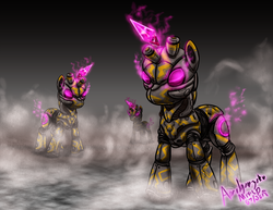 Size: 2786x2153 | Tagged: artist:amalgamzaku, concept art, crystal, glowing eyes, pony, robot, robot pony, safe, science fiction, smoke