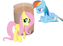 Size: 800x581 | Tagged: chocolate, chocolate milk, fluttershy, milk, op is on drugs, pony, rainbow dash, safe, sulking