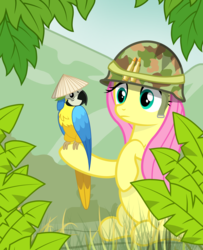 Size: 2600x3200 | Tagged: safe, artist:pizzamovies, fluttershy, bird, blue-and-yellow macaw, macaw, parrot, pony, female, hat, helmet, jungle, mare, mountain, raised hoof, vietnam, vietnam war