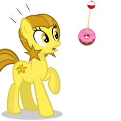 Size: 2500x2500 | Tagged: safe, artist:pizzamovies, oc, oc:golden star, earth pony, pony, donut, female, food, golden star loves donuts, mare, open mouth, raised hoof, rope, simple background, solo, transparent background