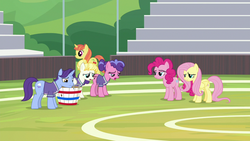 Size: 1280x720 | Tagged: 2 4 6 greaaat, berry blend, berry bliss, citrus blush, earth pony, female, fluttershy, friendship student, male, mare, november rain, pegasus, pinkie pie, pony, sad, safe, screencap, spoiler:s09e15, summer breeze, unicorn