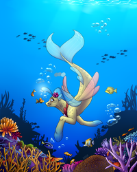 Size: 1600x2000 | Tagged: artist:mlp-norica, female, fish, my little pony: the movie, princess skystar, safe, seapony (g4), smiling, swimming, underwater