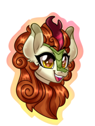 Size: 3000x4000 | Tagged: artist:annakitsun3, autumn blaze, bust, female, kirin, safe, smiling, solo, starry eyes, wingding eyes