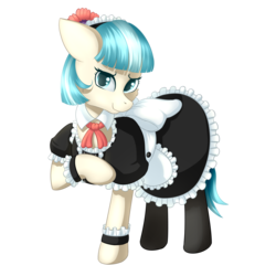 Size: 2000x2000 | Tagged: artist:ray-frost, clothes, coco pommel, cuffs (clothes), dress, earth pony, female, maid, mare, pony, raised hoof, safe, simple background, transparent background