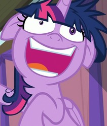 Size: 913x1080   Tagged: safe, screencap, twilight sparkle, alicorn, pony, a trivial pursuit, crazy face, faic, female, floppy ears, mare, messy mane, open mouth, shrunken pupils, smiling, solo focus, twilight snapple, twilight sparkle (alicorn), twilight sparkle is best facemaker, twilighting, twilynanas, wide eyes
