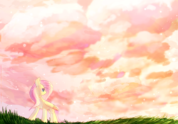 Size: 1593x1116 | Tagged: safe, artist:dddreamdraw, fluttershy, pegasus, pony, cloud, cloudscape, colored wings, female, folded wings, grass field, head turn, looking away, looking up, mare, outdoors, palindrome get, sky, solo, standing, wings