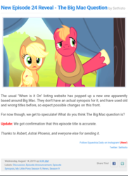 Size: 800x1097 | Tagged: safe, edit, edited screencap, screencap, applejack, big macintosh, earth pony, pony, equestria daily, leap of faith, the big mac question, adventure in the comments, applejack's hat, cowboy hat, hat, male, sethisto, stallion, text