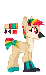 Size: 800x1280 | Tagged: artist:sandwichbuns, cloven hooves, colored hooves, colored wings, hippogriff, hippogriff hybrid, hybrid, kirin, kirin hybrid, magical lesbian spawn, male, multicolored wings, oc, oc only, oc:summer salad, parent:autumn blaze, parent:princess skystar, parents:autumnstar, rainbow hair, rainbow wings, reference sheet, safe, simple background, solo, transparent background, wings