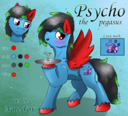 Size: 2210x2000 | Tagged: abstract background, artist:jesterpi, bartender, blue, blushing, chin up, cutie mark, drink, male, oc, oc only, oc:psycho, pegasus, pony, pose, red eyes, reference, reference sheet, safe, smiling, solo, spread wings, stallion, text, unshorn fetlocks, wings