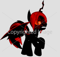 Size: 625x602 | Tagged: safe, oc, alicorn, bat pony, bat pony alicorn, pony, alicorn oc, bat wings, changeling horn, donut steel, edgy, edgy as fuck, fangs, horn, male, obtrusive watermark, original character do not steal, red and black oc, slit pupils, stallion, watermark, wings