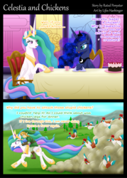Size: 2904x4054 | Tagged: artist:lifesharbinger, bird, chicken, comic, crossover, dialogue, female, link, mare, pony, princess celestia, princess luna, royal sisters, safe, speech bubble, the legend of zelda