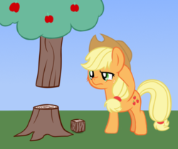 Size: 582x489 | Tagged: apple, applejack, apple tree, artist:djdavid98, atg 2019, confused, crossover, derpibooru exclusive, food, fuck logic, minecraft, newbie artist training grounds, pony, safe, solo, tree, video game crossover, video game logic