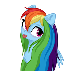 Size: 3110x3127 | Tagged: safe, artist:rioshi, artist:sparkling_light, artist:starshade, rainbow dash, pegasus, pony, :p, base used, blushing, bust, chest fluff, commission, cute, dashabetes, ear fluff, eye clipping through hair, eyebrows, eyebrows visible through hair, female, long mane, looking at you, mare, mlem, never doubt blaa6 involvement, portrait, silly, simple background, solo, tongue out, white background, ych result