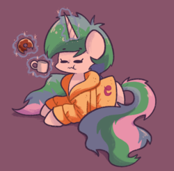 Size: 947x932 | Tagged: artist:typhwosion, bed mane, clothes, cute, cutelestia, donut, eating, eyes closed, female, food, glowing horn, horn, magic, mare, mug, pony, princess celestia, prone, purple background, robe, safe, simple background, solo, telekinesis