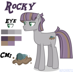 Size: 902x886 | Tagged: artist:mlplover0711, artist:polymercorgi, base used, earth pony, male, oc, oc only, oc:rocky, offspring, parent:maud pie, parent:mud briar, parents:maudbriar, pony, reference sheet, safe, simple background, solo, stallion, transparent background