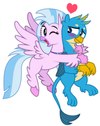 Size: 799x1000 | Tagged: artist:aleximusprime, birb, bird, blushing, crush, female, flying, gallstream, gallus, griffon, heart, hippogriff, hug, hug from behind, love, male, male and female, one eye closed, one eye open, pair, pictogram, safe, shipping, silverstream, straight, wink