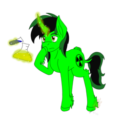 Size: 1627x1651 | Tagged: artist:midnightfire1222, chemicals, experimenting, oc, oc:toxic, pony, safe, science pony, solo, unicorn