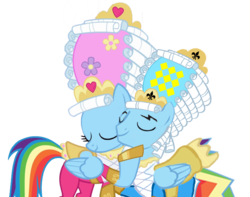 Size: 687x540 | Tagged: safe, artist:kayman13, artist:trotsworth, rainbow dash, pony, swarm of the century, clothes, dashblitz, dashie antoinette, dress, eyes closed, female, hoof hold, hoof on head, i love you, love, male, powdered wig, rainbow blitz, rainbow blitz always dresses in style, rainbow dash always dresses in style, rule 63, self ponidox, selfcest, shipping, simple background, smiling, straight, transparent background, wig