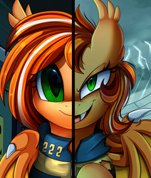 Size: 2550x3009 | Tagged: safe, artist:pridark, oc, oc only, oc:pumpkin patch, bat pony, pony, bat pony oc, bust, clothes, commission, high res, looking at you, open mouth, portrait, smiling, solo, two sided posters