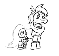 Size: 460x437 | Tagged: artist:jargon scott, big macintosh, black and white, grayscale, lineart, macareina, mechamac, monochrome, pony, robot, roboticization, robot pony, rule 63, safe, solo, too many macareinas