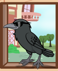 Size: 2600x3200 | Tagged: apple tree, artist:pizzamovies, bird, building, cool crow, crow, derpibooru, glare, meta, moderator, no pony, safe, smiling, smirk, solo, sunglasses, tree, window