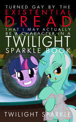 Size: 1173x1875 | Tagged: alicorn, artist:niggerfaggot, bedroom eyes, book cover, chuck tingle, clothes, cover, female, floating head, human pose, interdimensional rift, licking, licking lips, looking at you, lyra heartstrings, night, parody, pony, poolside, safe, see-through, show accurate, smiling, stripping, tongue out, twilight sparkle, unicorn